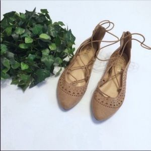 REPORT tan nude flats  ankle elastic lace up